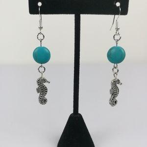 Handmade seahorse earrings dyed howlite